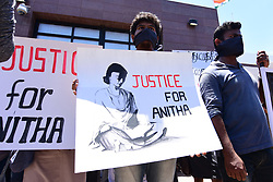 September 11, 2017 - Colombo, Sri Lanka - Sri Lankan University students staged a silent protest outside the Indian High Commission to Sri Lanka demanding scrapping of National Eligibility and Entrance Test  (Credit Image: © Musthaq Thasleem/Pacific Press via ZUMA Wire)