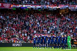 24-05-2017 SWE: Final Europa League AFC Ajax - Manchester United, Stockholm<br /> Finale Europa League tussen Ajax en Manchester United in het Friends Arena te Stockholm / MU met 1 minuut stilte voor de slachtoffers in Manchester