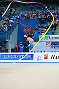 """Kudryavtseva Yana of Russia  during final at ribbon in Pesaro World Cup at Adriatic Arena on April 12, 2015, Italy. Yana """"The Queen"""" is a Russian gymnast born in Moscow on September 30, 1997. Until her retirement in 2017 was one of atllete most awarded in the history of rhythmic gymnastics."""