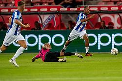 """Chidera Ejuke #8 of Heerenveen, Sean Klaiber #17 of Utrecht. FC Utrecht convincingly won the practice match against sc Heerenveen. The """"Domstedelingen"""" were too strong for SC Heerenveen in Stadium Galgenwaard with 4-1<br /> on August 20, 2020 in Utrecht, Netherlands"""