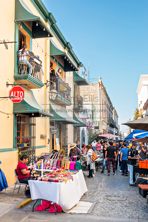 People shop at the Sunday antiques market in the Barrio Antiguo or Spanish Quarter neighborhood adjacent to the Macroplaza Grand Plaza in Monterrey, Nuevo Leon, Mexico.