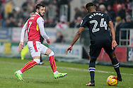 Anthony Forde (Rotherham United) closes down Ryan Nyambe (Blackburn Rovers) during the EFL Sky Bet Championship match between Rotherham United and Blackburn Rovers at the AESSEAL New York Stadium, Rotherham, England on 11 February 2017. Photo by Mark P Doherty.