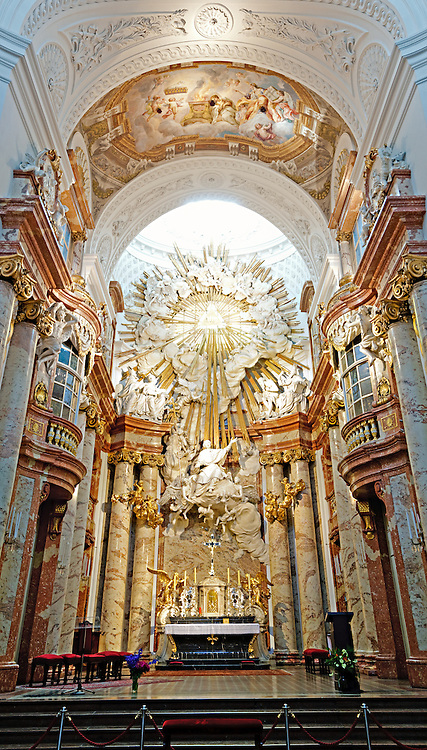 High resolution shot of the interior of Karlskirche in Vienna, Austria