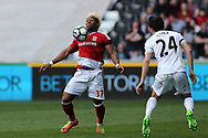 Adama Traore of Middlesbrough (l) in action. Premier league match, Swansea city v Middlesbrough at the Liberty Stadium in Swansea, South Wales on Sunday 2nd April 2017.<br /> pic by Andrew Orchard, Andrew Orchard sports photography.
