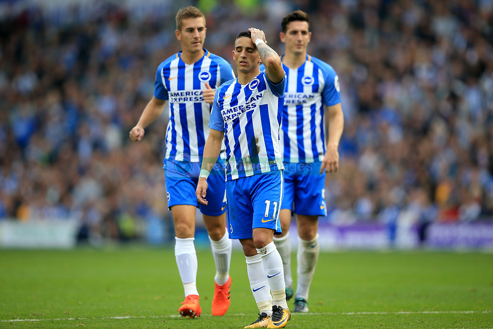 15 October 2017 -  Premier League - Brighton and Hove Albion v Everton - A dejected Anthony Knockaert of Brighton and Hove Albion flanked by team mates Uwe Hunemeier and Lewis Dunk - Photo: Marc Atkins/Offside