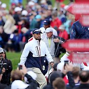 Ryder Cup 2016. Vice-Captain Tiger Woods of the United States during practice day in front of massive crowds at the Hazeltine National Golf Club on September 28, 2016 in Chaska, Minnesota.  (Photo by Tim Clayton/Corbis via Getty Images)