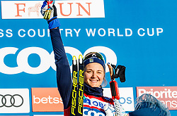 March 16, 2019 - Falun, SWEDEN - 190316  Stina Nilsson of Sweden celebrates on the podium after the Women's cross-country skiing sprint final during the FIS Cross-Country World Cup on march 16, 2019 in Falun  (Credit Image: © Daniel Eriksson/Bildbyran via ZUMA Press)