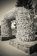 Elk antler arch in the town square, Jackson Hole, Wyoming USA
