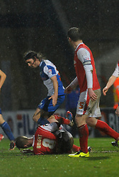 Bristol Rovers' John-Joe OToole appears to stamp on Morecambe's Andrew Wright - Photo mandatory by-line: Dougie Allward/JMP - Tel: Mobile: 07966 386802 14/12/2013 - SPORT - Football - Morecombe - Globe Arena - Morecombe v Bristol Rovers - Sky Bet League Two