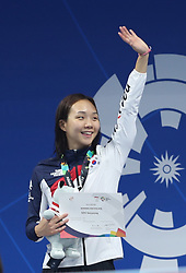 JAKARTA, Aug. 24, 2018  Kim Seoyeong of South Korea attends the awarding ceremony of women's 200m individual medley final of swimming at the 18th Asian Games in Jakarta, Indonesia, Aug. 24, 2018. Kim won the gold medal. (Credit Image: © Fei Maohua/Xinhua via ZUMA Wire)