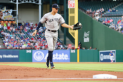 May 22, 2018 - Arlington, TX, U.S. - ARLINGTON, TX - MAY 22: New York Yankees right fielder Aaron Judge (99)  juggles the baseball back to the dugout during the game between the Texas Rangers and the New York Yankees on May 22, 2018 at Globe Life Park in Arlington, Texas. The Rangers defeat the Yankees 6-4. (Photo by Matthew Pearce/Icon Sportswire) (Credit Image: © Matthew Pearce/Icon SMI via ZUMA Press)