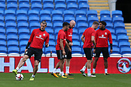Gareth Bale of Wales (l) in action during the Wales football team training at the Cardiff city Stadium in Cardiff , South Wales on Friday 1st September 2017.  the team are preparing for their FIFA World Cup qualifier home to Austria tomorrow.  pic by Andrew Orchard, Andrew Orchard sports photography