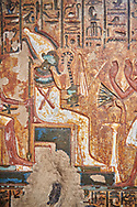 """Ancient Egyptian stele of scraftsman Minhotep in adoration of Osiris, limestone, New Kingdom, 18th Dynasty, (1336-1292 BC), Deir el-Medina, Drovetti cat 1619. Egyptian Museum, Turin. <br /> <br /> The stele is dedicated to Osiris, Anubis and Hathor """"Mistress of the World"""". .<br /> <br /> If you prefer to buy from our ALAMY PHOTO LIBRARY  Collection visit : https://www.alamy.com/portfolio/paul-williams-funkystock/ancient-egyptian-art-artefacts.html  . Type -   Turin   - into the LOWER SEARCH WITHIN GALLERY box. Refine search by adding background colour, subject etc<br /> <br /> Visit our ANCIENT WORLD PHOTO COLLECTIONS for more photos to download or buy as wall art prints https://funkystock.photoshelter.com/gallery-collection/Ancient-World-Art-Antiquities-Historic-Sites-Pictures-Images-of/C00006u26yqSkDOM"""