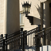 Victorian Gas light style sconce on the wall of the Dedham Court house
