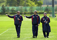 Photo: Greig Cowie<br /> FA Cup week. Arsenal Training 15/05/2003<br /> Arsene Wenger (center) chats with Pat Rice (l) and Boro Primorac (r)