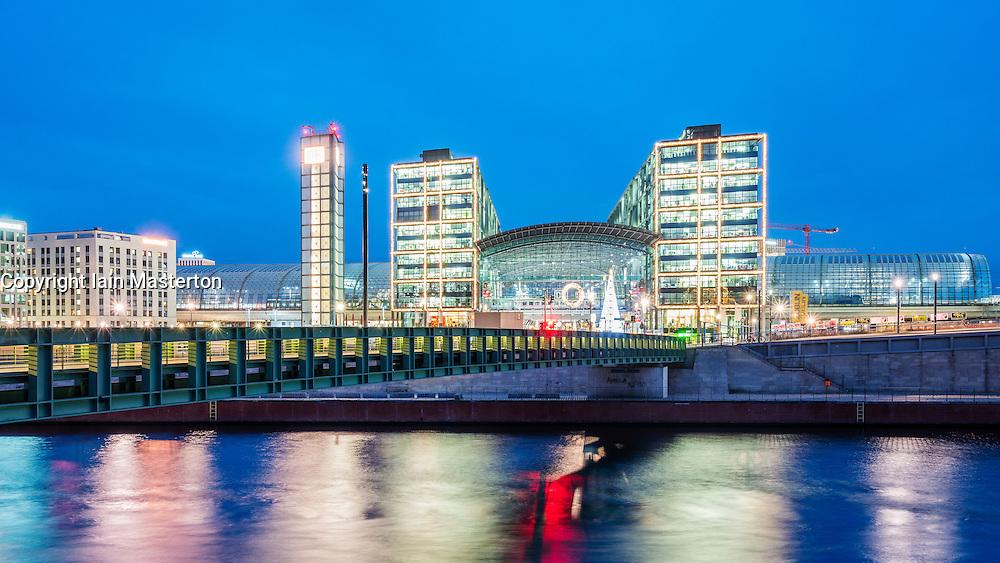 Exterior view of Hauptbahnhof main railway central in Berlin, Germany