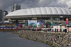Inuksuks line the shore along False Creek in Vancouver