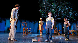 To Kill a Mockingbird <br /> by Harper Lee <br /> at The Barbican Theatre, London, Great Britain <br /> rehearsal <br /> 25th June 2015 <br /> <br /> <br /> <br /> Robert Sean Leonard as Atticus Finch<br /> <br /> Tommy Rodger as Jem<br /> <br /> Ava Potter as Scout <br /> Photograph by Elliott Franks <br /> Image licensed to Elliott Franks Photography Services