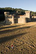 Daryl Sattui's Castello di Amorosa, a  version of a Tuscan hilltop castle in Calistoga, California. Napa Valley, California. Under construction January 2007.