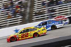 April 8, 2018 - Ft. Worth, Texas, United States of America - April 08, 2018 - Ft. Worth, Texas, USA: Joey Logano (22) and Kyle Larson (42) battle for position during the O'Reilly Auto Parts 500 at Texas Motor Speedway in Ft. Worth, Texas. (Credit Image: © Chris Owens Asp Inc/ASP via ZUMA Wire)