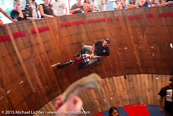 Donny of the California Hell Riders rides the Wall Of Death at the Iron Horse Saloon during the 2015 Biketoberfest Rally. Ormond Beach, FL, USA. October 17, 2015.  Photography ©2015 Michael Lichter.