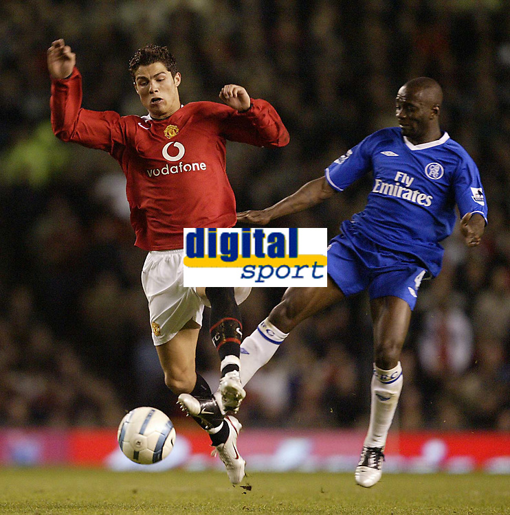 Photo Aidan Ellis, Digitalsport<br /> Manchester United v Chelsea.<br /> FA Barclays Premiership.<br /> 10/05/2005.<br /> United's Cristiano Ronaldo nips in front of Chelsea's Claude Makelle