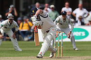 Dominic Sibley of Warwickshire takes a blow off the bowling of Steven Patterson of Yorkshire during the Specsavers County Champ Div 1 match between Yorkshire County Cricket Club and Warwickshire County Cricket Club at York Cricket Club, York, United Kingdom on 18 June 2019.