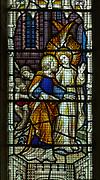 Stained glass window church Saint Margaret, South Elmham, Suffolk, England, UK Saint Paul with an angel c 1910