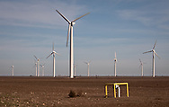 WInd turbine in field of Roscoe Texas.