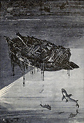 The wreck of the Florida From the Book Twenty thousand leagues under the seas, or, The marvelous and exciting adventures of Pierre Aronnax, Conseil his servant, and Ned Land, a Canadian harpooner by Verne, Jules, 1828-1905 Published in Boston by J.R. Osgood in 1875