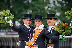1 Krooswijk Angela (NED)<br /> 2 Van Der Drift Brigit (NED)<br /> 3 Van Grotel Sanne (NED)<br /> Nederlands Kampioenschap Dressuur - De Steeg 2009<br /> Photo © Dirk Caremans