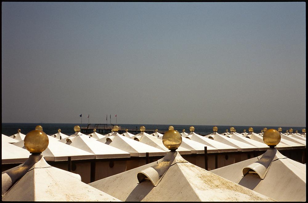 Rows of beach tents, Venice, Italy