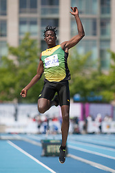 August 12, 2018 - Toronto, ON, U.S. - TORONTO, ON - AUGUST 12: Tajay Gayle (Jamaica), silver in long jump at the 2018 North America, Central America, and Caribbean Athletics Association (NACAC) Track and Field Championships on August 12, 2018 held at Varsity Stadium, Toronto, Canada. (Photo by Sean Burges / Icon Sportswire) (Credit Image: © Sean Burges/Icon SMI via ZUMA Press)