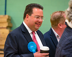 Haddington & Lammermuir by-election count. Haddington, East Lothian, Scotland, United Kingdom, 10 May 2019. Pictured: Craig Hoy, Scottish Conservative and Unionist Party winning candidate with over 2,000 votes. The election takes place of one councillor in Ward 5 of East Lothian Council due to the resignation of Councillor Brian Small. The successful candidate represents this ward along with the three existing councillors. The by-election uses the Single Transferable Vote (STV) system in which voters can rank candidates in order of preference and can choose to vote for as many or as few candidates as they like. The election fields 5 candidates from Scottish National Party (SNP), Scottish Labour Party, Scottish Conservatives and Unionist Party, Scottish Liberal Democrats and UK Independence Party (UKIP).<br /> <br /> Sally Anderson | EdinburghElitemedia.co.uk