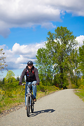 North America, United States, Washington, Kirkland. A man rides a mountain bike along the Cross Kirkland Corridor, a former railroad line converted to a trail for walking and bicycling.