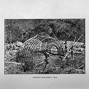 Natives building a Hut from the book ' Boer and Britisher in South Africa; a history of the Boer-British war and the wars for United South Africa, together with biographies of the great men who made the history of South Africa ' By Neville, John Ormond Published by Thompson & Thomas, Chicago, USA in 1900
