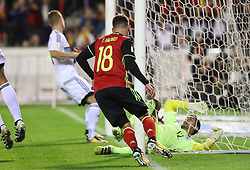 October 10, 2017 - Brussels, BELGIUM - Cyprus' goalkeeper Constantinos Panagi (Kostas Panayi) felt after the second goal of Belgium's Thorgan Hazard who celebrates with Belgium's Michy Batshuayi at a soccer game between Belgian national team Red Devils and Cyprus, in Brussels, Tuesday 10 October 2017, game 9 in Group H of the qualifications for the 2018 World Cup. BELGA PHOTO VIRGINIE LEFOUR (Credit Image: © Virginie Lefour/Belga via ZUMA Press)