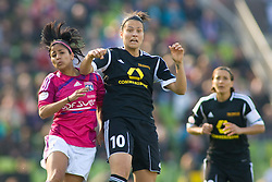 17.05.2012, Olympiastadion, Muenchen, GER, UEFA CL, Finale Damen, Olympic Lyon (FRA) vs FFC Frankurt (GER), im Bild Lyon's Costa Rican midfielder Shirley Cruz Traña and Frankfurt's German midfielder Dzsenifer Marozsán in action during the UEFA Champions League final for women played at the Olympia Stadion and contested by Olympic Lyon from France and FFC Frankurt from Germany, Germany on 2012/05/17 . EXPA Pictures © 2012, PhotoCredit: EXPA/ Mitchel Gunn