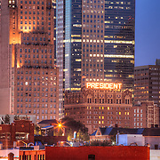 Downtown Kansas City Missouri at Sunset in July 2011.