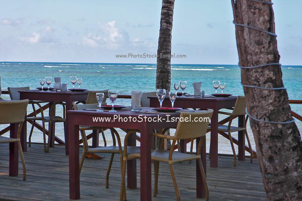 Caribbean beach front restaurant. Photographed in the Dominican Republic Samana Peninsula