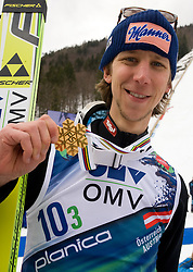 KOCH Martin of winning team of Austria with gold medal after the Flying Hill Team  at 4th day of FIS Ski Flying World Championships Planica 2010, on March 21, 2010, Planica, Slovenia.  (Photo by Vid Ponikvar / Sportida)