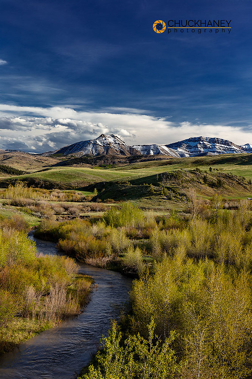 Elk Creek with fresh snow on Steamboat Mountain along the Rocky Mountain Front near Augusta, Montana, USA