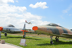 June 11, 2017 - Ankara, Turkey - An aircraft lands near Ankara Aviation Museum in Ankara, Turkey on June 11, 2017. The museum is a military-based museum for aviation established by the Turkish Air Force as the second of its kind in the country. (Credit Image: © Altan Gocher/NurPhoto via ZUMA Press)
