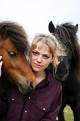 Milly and Bella the two Shetland ponys who were attacked by dogs on Moss Road, Totley with owner Jennifer Gleadhall<br /> <br /> 21 May 2013<br /> Image © Paul David Drabble<br /> www.pauldaviddrabble.co.uk