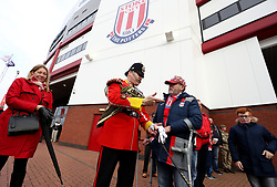 Stoke City fans with members of the military