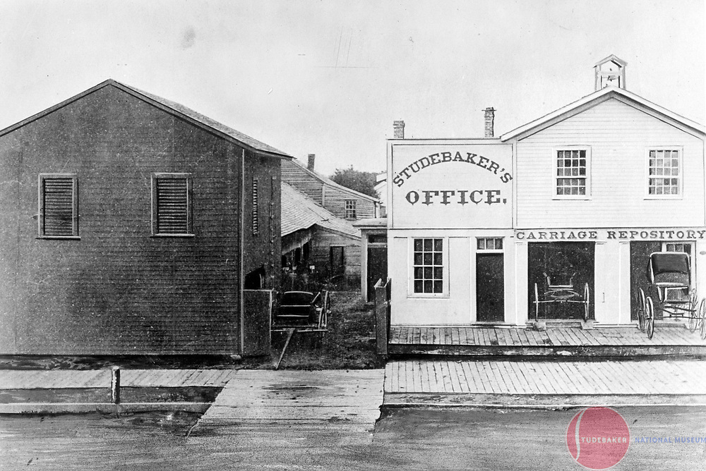 Artist's rendering of the Studebaker Blacksmith Shop and Repository, c. 1860's