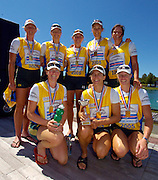 2005 FISA Rowing World Cup Munich,GERMANY. 19.06.2005; Women's eights Gold medallist AUS W8+  after receiving their Gold medals..Photo  Peter Spurrier. .email images@intersport-images.[Mandatory Credit Peter Spurrier/ Intersport Images] Rowing Course, Olympic Regatta Rowing Course, Munich, GERMANY