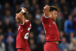 Liverpool's Dominic Solanke (left) and Alex Oxlade-Chamblerlain rue a missed chance