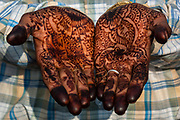 Rajasthani village groom's hands 3 days after his wedding still with henna painted hands. Pushkar, Rajasthan. INDIA
