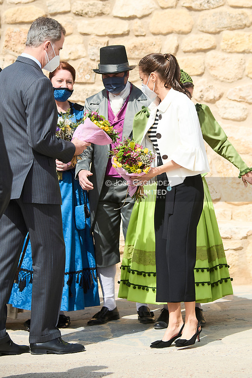 Queen Letizia of Spain visit Fuendetodos in the framework of the commemoration of the 275th anniversary of the birth of Francisco de Goya at Goya's birthplace on March 29, 2021 in Fuendetodos, Spain